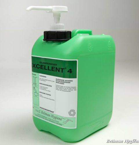 Excellent4, glas, glasreiniger, concentraat, beltman, beltman hygiene. schoonmaak, schoonmaakmiddelen, haccp, kleurencode, hygienecode