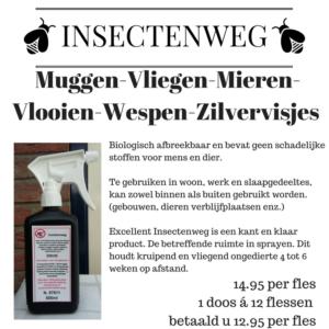 Biologisch product teggen: muggen, vliegen,mieren,vlooien,wespen, zilvervisjes. Met als hoofdbestanddeel Chrysant