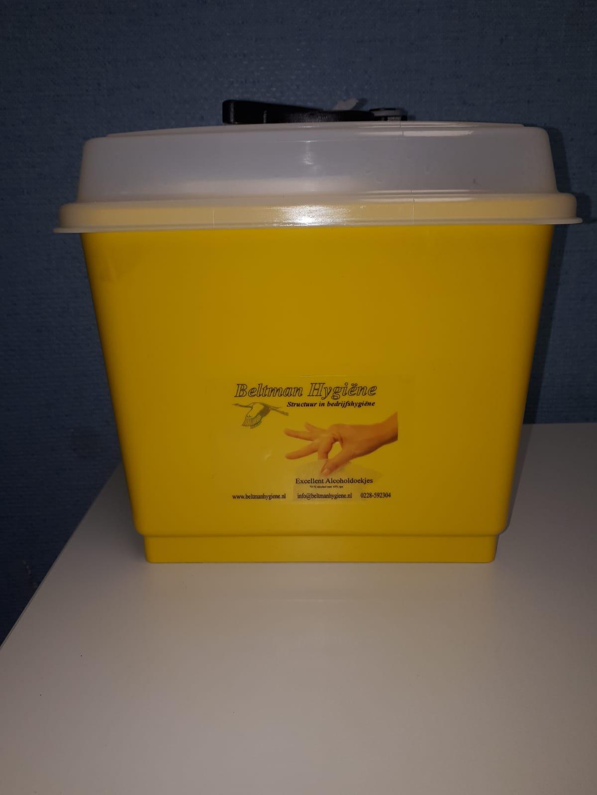 Gele emmer tbv alcohol doekjes Image
