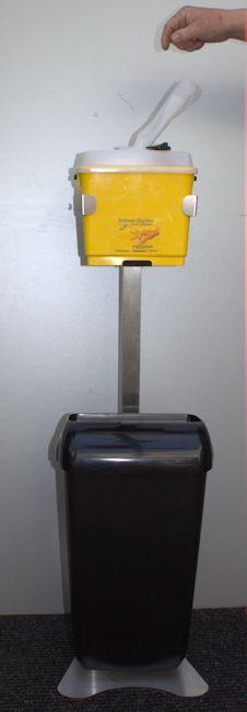 Alcohol doekjes dispenser op statief met afvalbak zwart Image